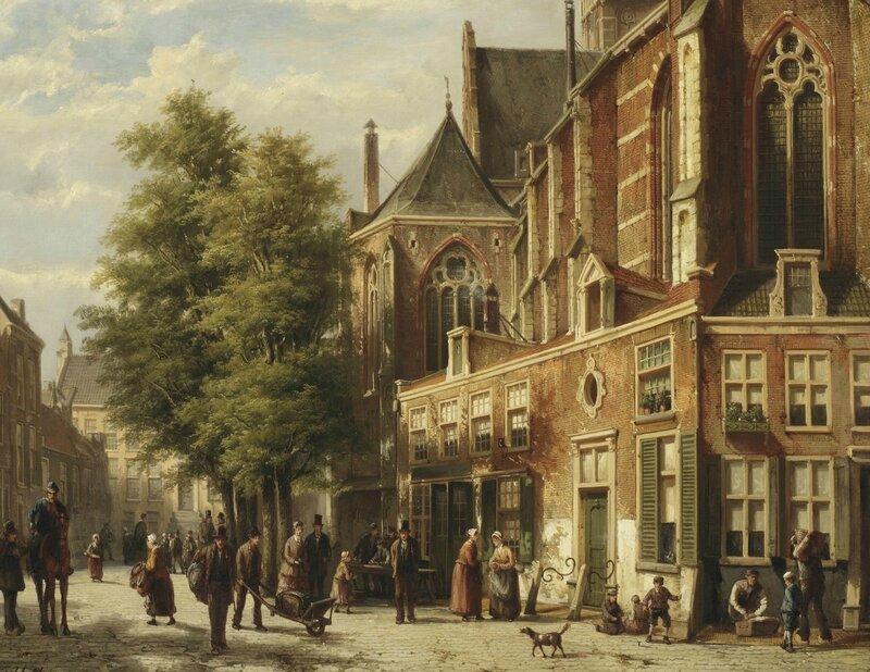 Willem_Koekkoek_-_Numerous_figures_in_a_sunlit_street_near_a_church
