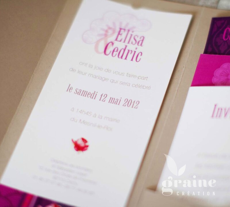 invitation faire-part japonais fuschia