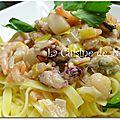 Tagliatelles aux fruits de mer, sauce safranée