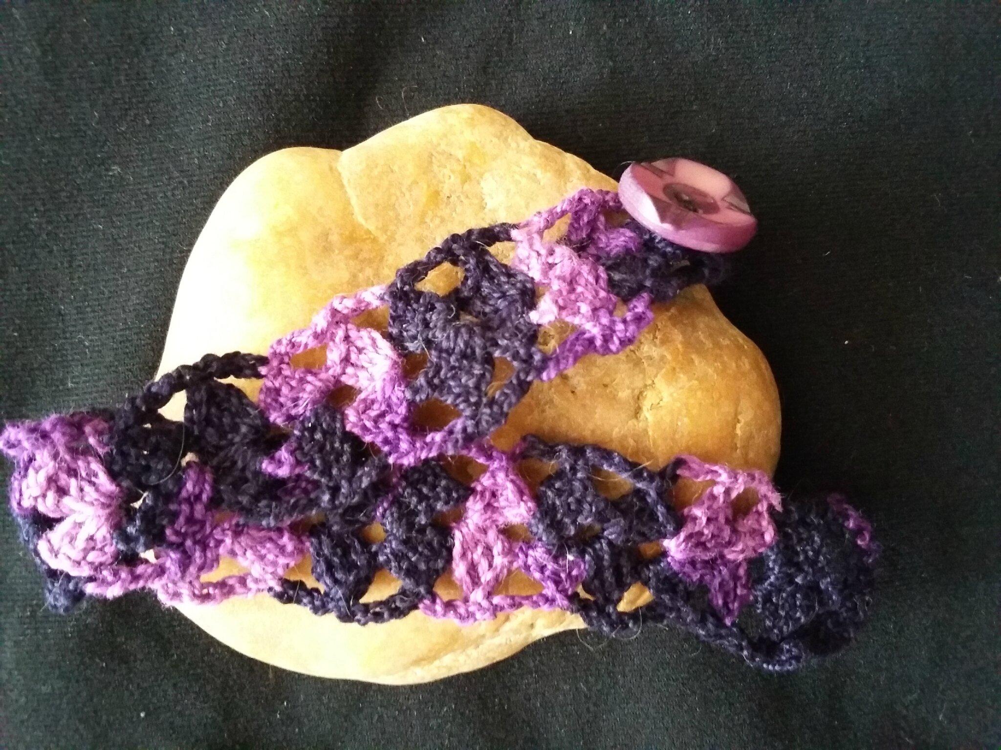 Bracelet coton bleu marine et violet