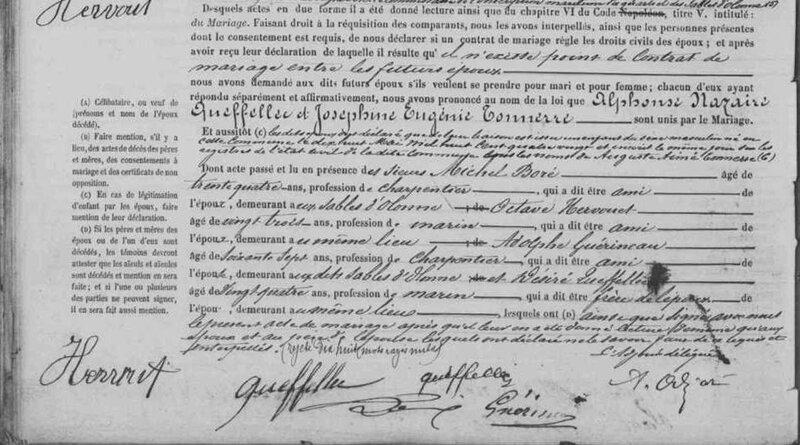 1882 le 7 novembre Sables d'Olonne mariage Alphonse Nazaie_ TONNERRE_3