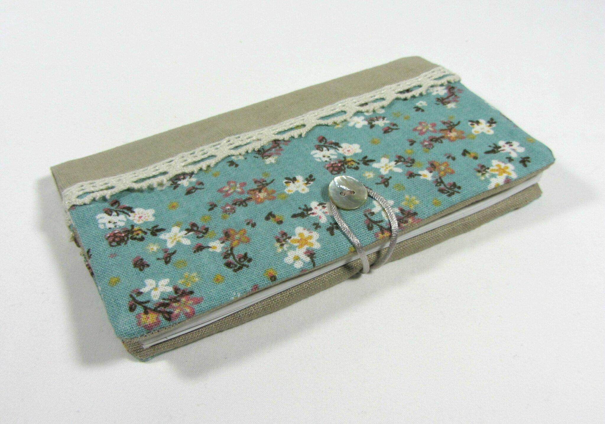 Porte chéquier en lin et coton style vintage