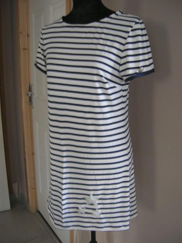 jersey coton blanc rayé marine