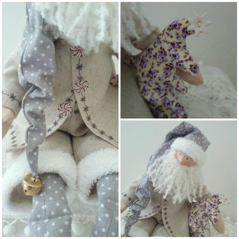 Père Noël Tilda shabby chic détails