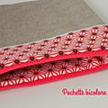 Pochette élégante bicolore lin corail1
