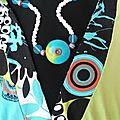 Création personnalisée : robe turquoise et noire