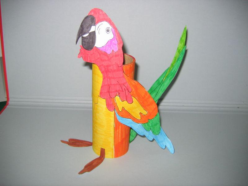 Pot crayons perroquet les cr ations d co de marsouille - Bricolage pot a crayon facile ...