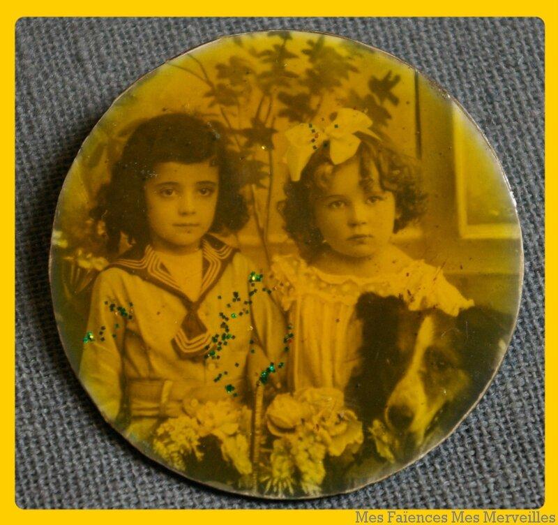 broche vintage photo d'enfants