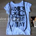 Abbey Dawn Rock The Beat Suspenders Tee