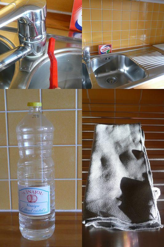 Un évier toujours net, la plaque de cuisson aussi.