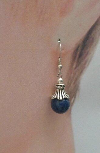 Boucles d'Oreilles Style Tibétain Nanja Perle Lapis Lazuli 10 mm Argent Du Tibet