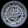 Dish, porcelain painted in underglaze blue with peafowls and plants, China, Yuan dynasty, mid 14th century 