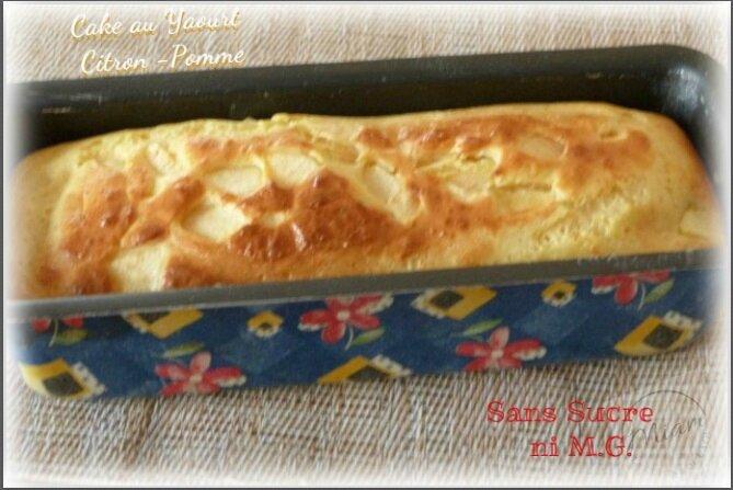 """ღ '"""" Miam """" Cake yaourt- citron et aux pommes { sans sucre , sans M.G }"""
