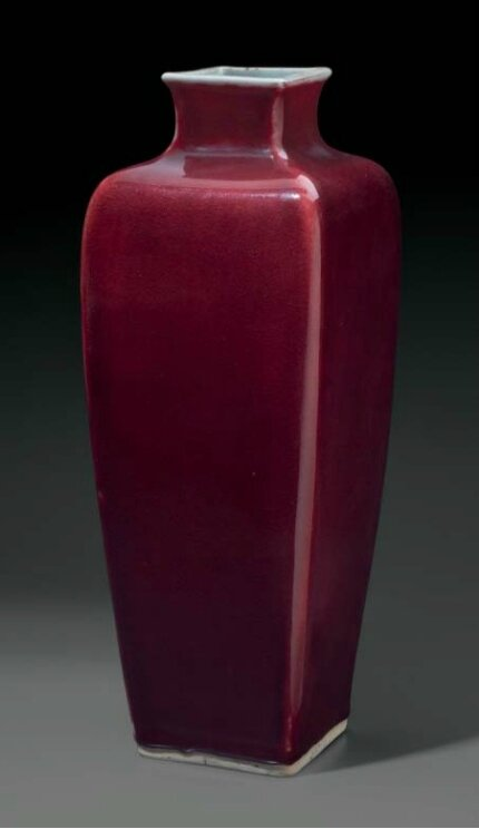 A copper-red-glazed faceted high-shouldered vase, China, Qing dynasty, 18th-19th century