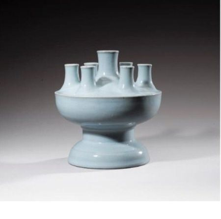 A_multi_mouth_Ru_type_glazed_porcelain_vase__China__Qing_Dynasty__Qianlong_mark_and