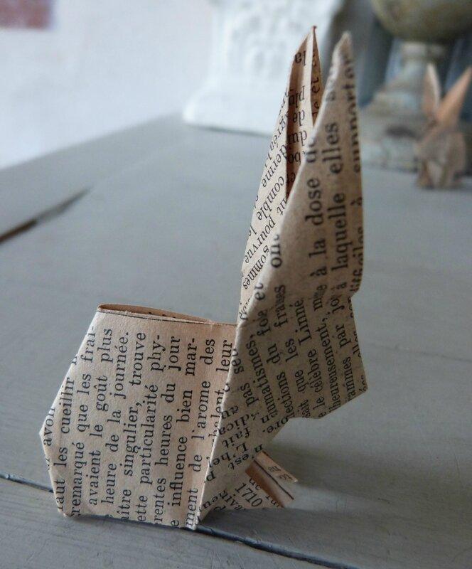 Lapin origami papier ancien (28)