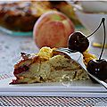 Un bon gâteau brioché aux pêches et cerises........hummmmm! on en redemande!