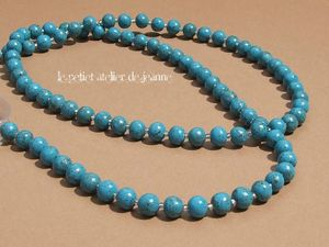 Collier boules turquoises
