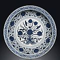 A rare large ming-style blue and white 'lotus bouquet' dish, qianlong six-character seal mark in underglaze-blue and of the peri