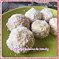 Boules de neige noix de coco/confiture pommes épices