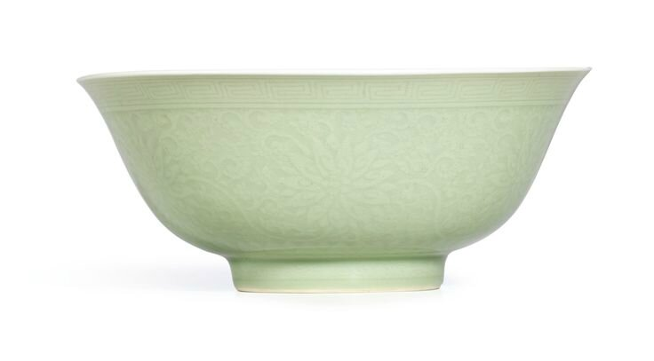 A celadon-glazed 'Lotus' bowl, Mark and period of Kangxi