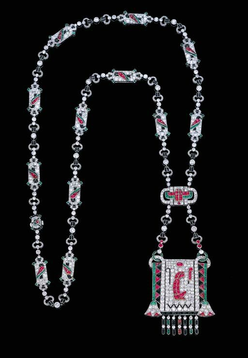 An exceptionally rare gem-set Egyptian Revival pendent sautoir, by Van Cleef & Arpels