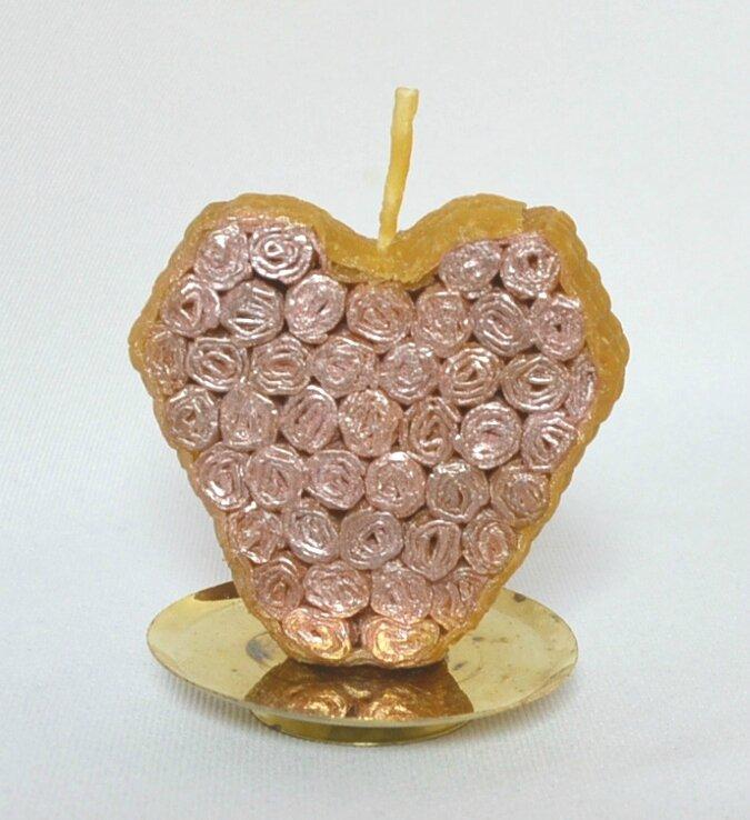 coeur bougie fleurs roses
