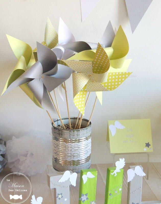 decoration bapteme theme ange etoiles vert anis gris blanc boite dragees etiquette lettres decorees fanion moulin a vent urne pompon2