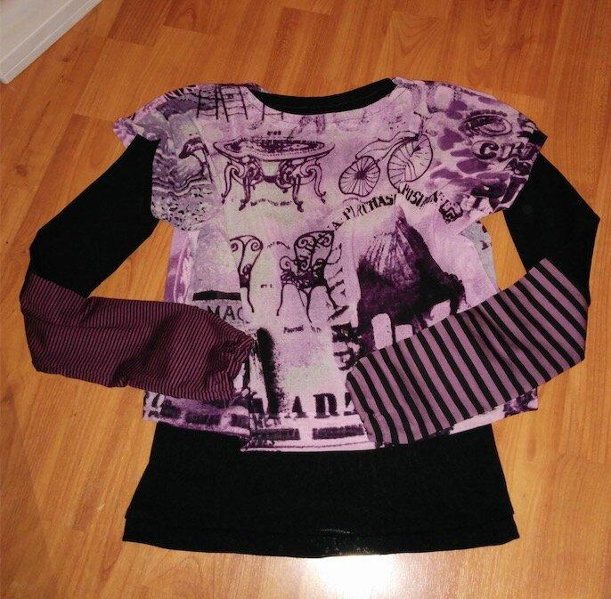 tee-shirt annif Klara violet, noir résille - copie