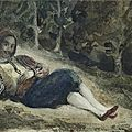 Eugène delacroix (1798-1863), a greek reclining