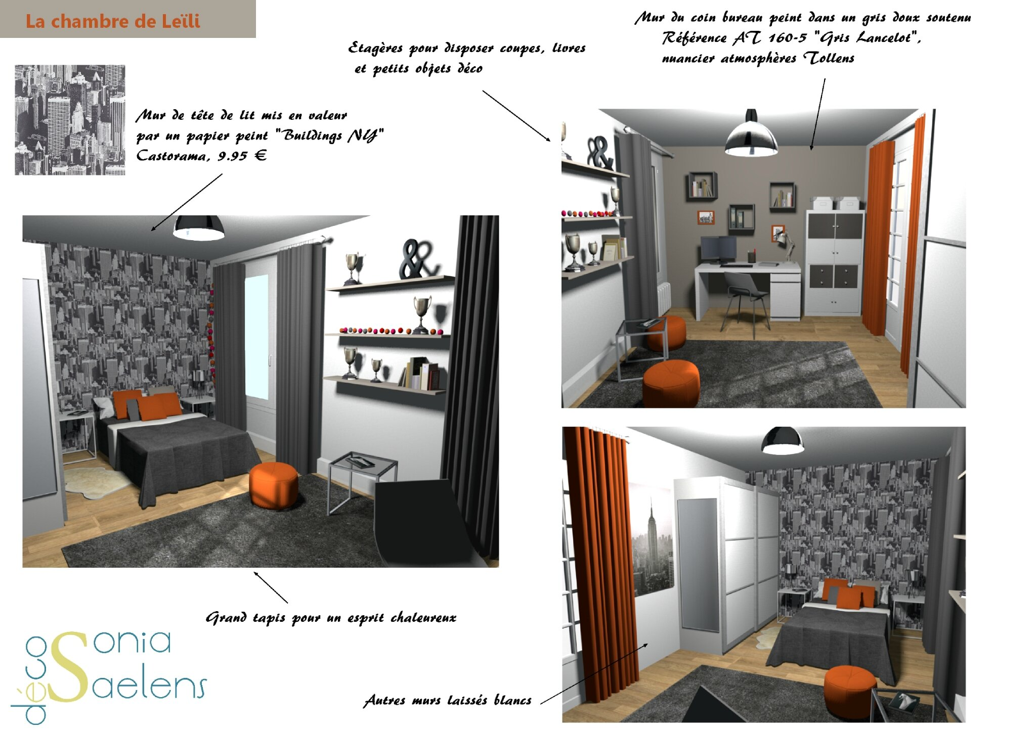 projet client relooking d 39 une chambre d 39 ado sonia. Black Bedroom Furniture Sets. Home Design Ideas