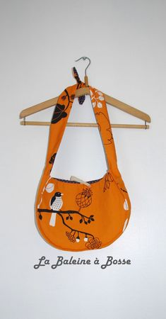 sac à main réversible coton orange motif nature oiseau et coton prune pois blanc côté orange
