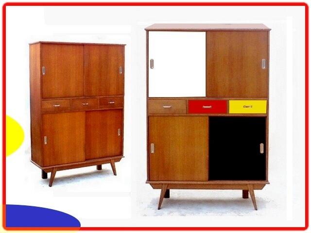 buffet haut vintage annees 1950 1960 chene dore vendu meubles et d coration vintage design. Black Bedroom Furniture Sets. Home Design Ideas