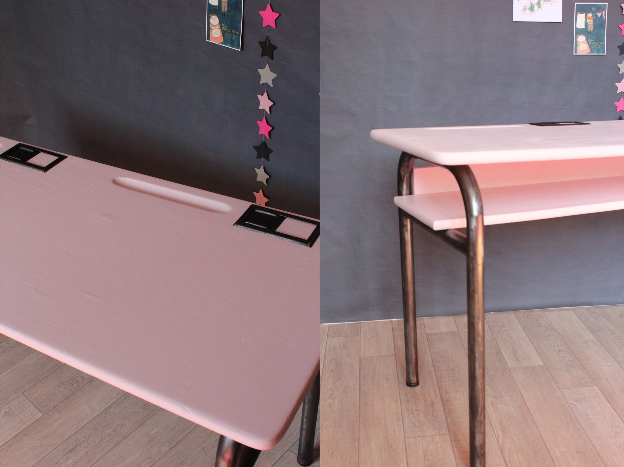 joli bureau d 39 cole ann es 60 rose pastel et anthracite trendy little. Black Bedroom Furniture Sets. Home Design Ideas