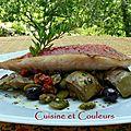 Filet de rouget et sa fricassée de fèves et artichauts à la provençale