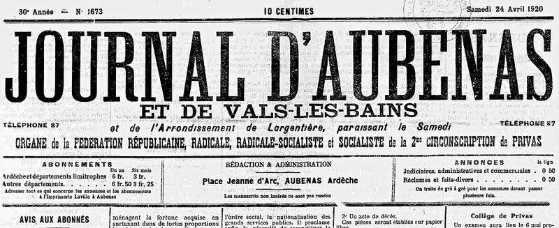 Journal d'Aubenas 1920
