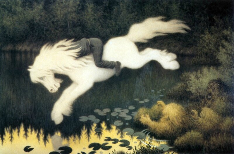 Boy on white horse - Theodor Kittelsen