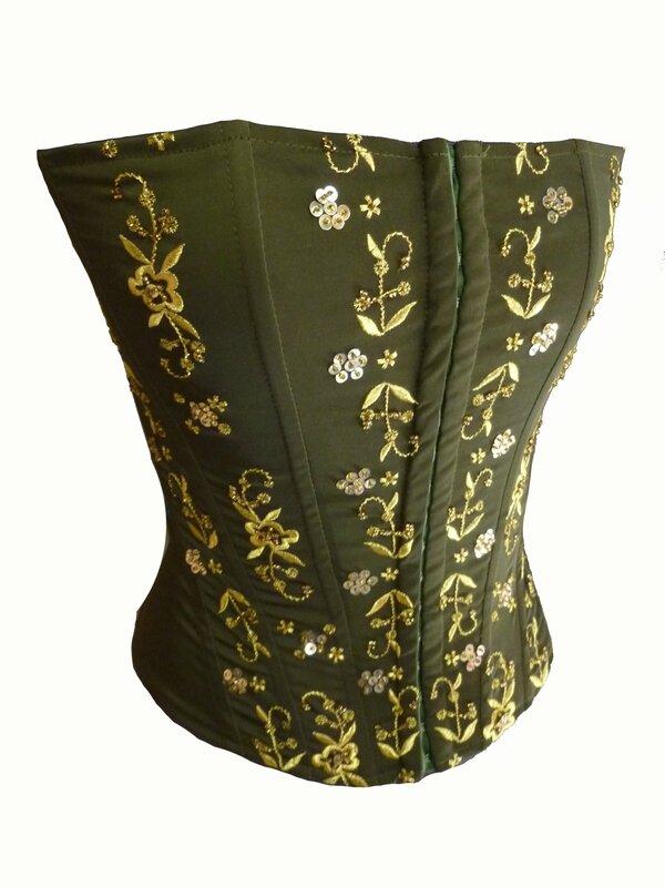 corset soiree kaki brode perles or (2)
