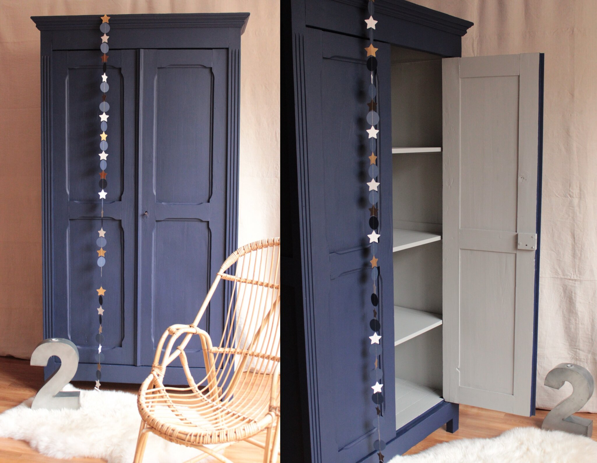 Armoire vintage bleu nuit trendy little for Repeindre un mur exterieur