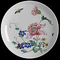 Dish, porcelain painted in overglaze enamels in the famille rose palette with flowers and insects, China, Qing dynasty