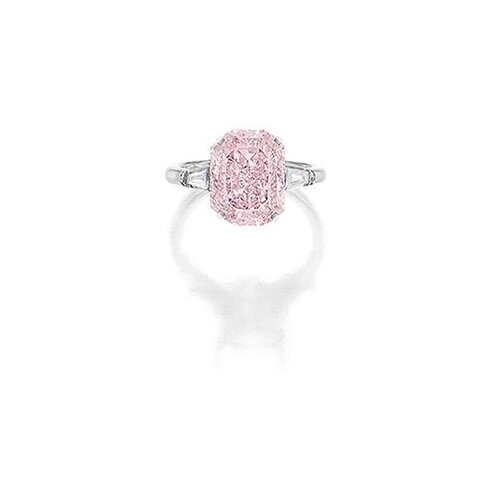 Rare Fancy Intense Pink Diamond and Diamond Ring