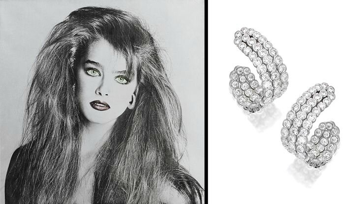 Brooke Shields & Diamond Earclips