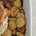 Poulet roti et ses pommes de terre au four