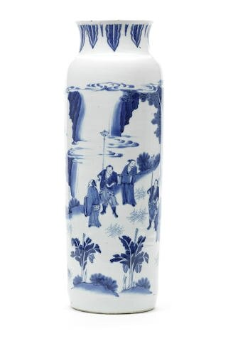 A blue and white sleeve vase, rolwagen, Shunzhi