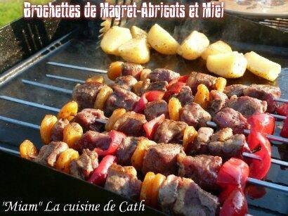 """ღ """" MIAM """" Brochettes de magret de Canard & Abricots au Miel"""