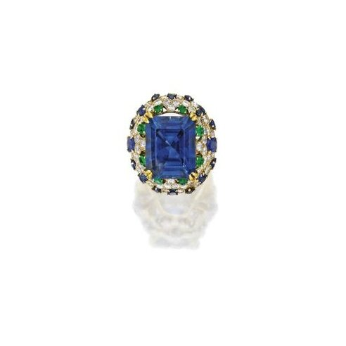 18 Karat Gold, Sapphire, Emerald and Diamond Ring