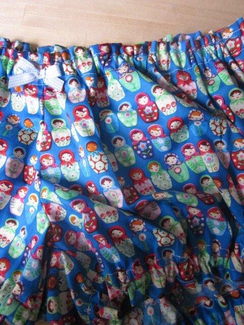 Culotte BIANCA en coton turquoise imprimé poupées russes - Noeud vichy ciel (1)