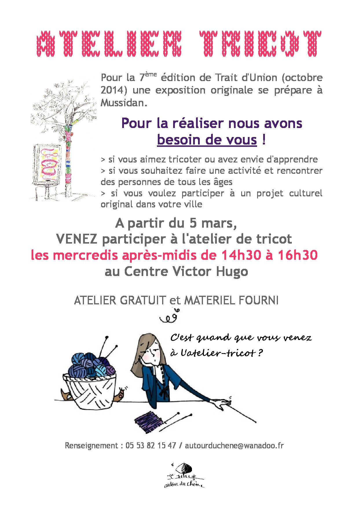 atelier tricot mercredi 14h30 16h30 partir du 5 mars 2014 centre culturel autour du chene. Black Bedroom Furniture Sets. Home Design Ideas