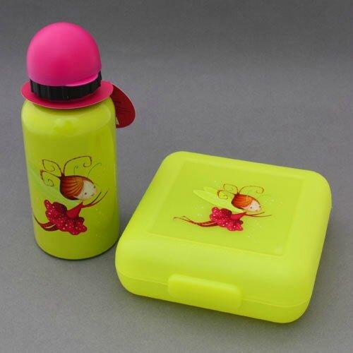 Nouveau : lot boite à goûter et gourde Fée sans BPA Crocodile Creek