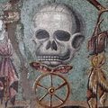 Mosaque polychrome de Pompi , de Memento Mori (Ier sicle). Base calcaire et marbres colors (41 x 47 cm). Muse national. lepoint.fr  Archives surintendance spciale Beni et d'archologie de Naples